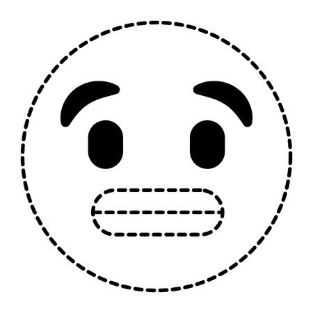 cute smile emoticon toothy smile expression vector illustration dotted line image