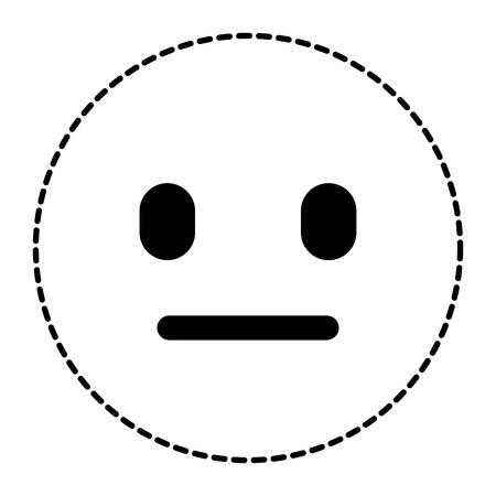 이모티콘 만화 얼굴 말없는 표현 벡터 일러스트 레이 션 점선 이미지.