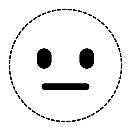Emoticon cartoon face speechless expression vector illustration dotted line image.