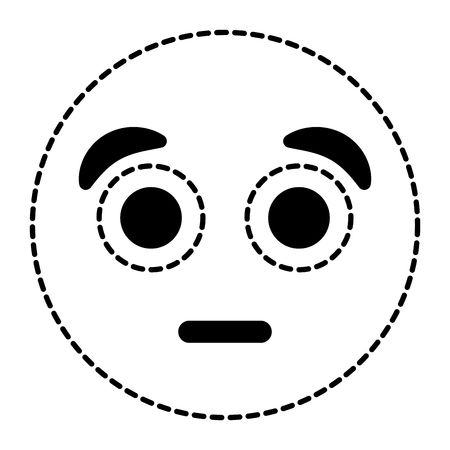 Emoticon cartoon face surprised expression vector illustration dotted line image.