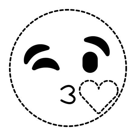 Emoticon cartoon face blowing a kiss, love expression. Vector illustration, dotted line image.