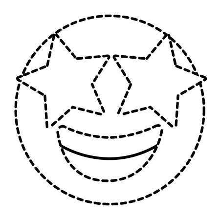 Emoticon cartoon face happy star eyes expression vector illustration dotted line image.