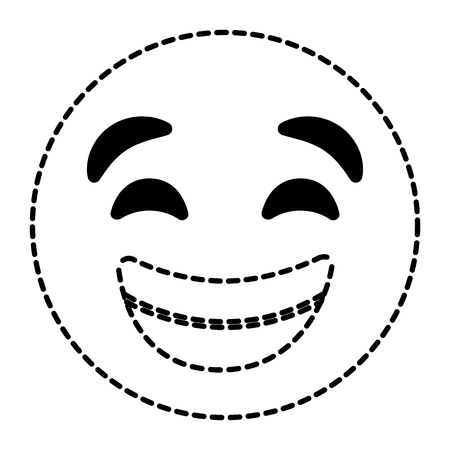 Emoticon cartoon face smiling happy vector illustration dotted line image. Ilustrace