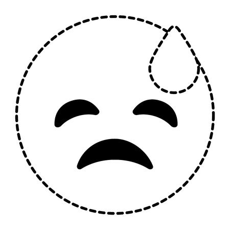 Emoticon cartoon face depressive tear vector illustration dotted line image.