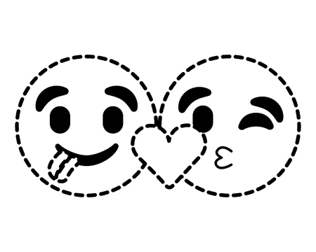 Emoticons faces tongue out and kiss vector illustration dotted line image. Illustration
