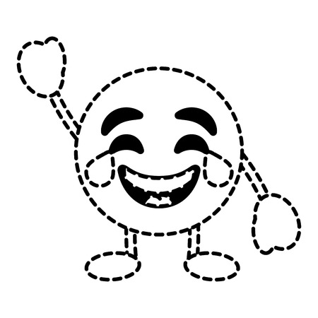 emoticon cartoon face smiling with tears character vector illustration dotted line image