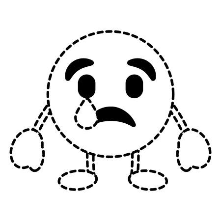 顔文字漫画顔うつ病の涙文字ベクトルイラスト点線画像。