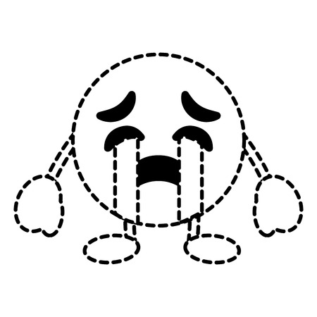 emoticon cartoon face crying character vector illustration dotted line image