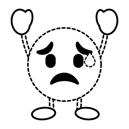 Emoticon cartoon face depressive character vector illustration dotted line image.