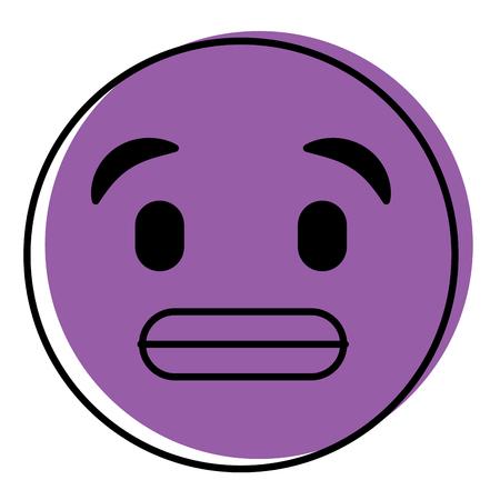 cute purple smile emoticon toothy smile vector illustration
