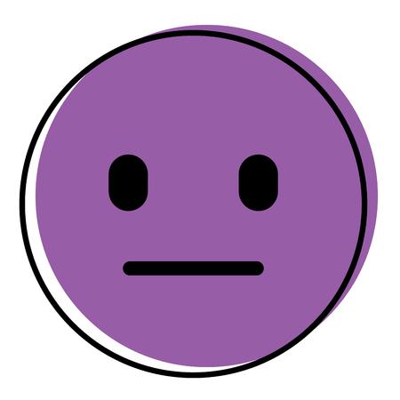 Purple emoticon cartoon face speechless vector illustration.
