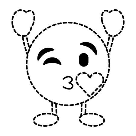 emoticon cartoon face blowing a kiss love character vector illustration dotted line image
