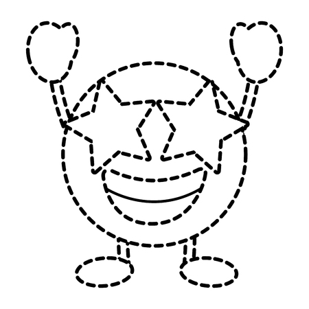 Emoticon cartoon face happy star eyes character vector illustration dotted line image. Illustration