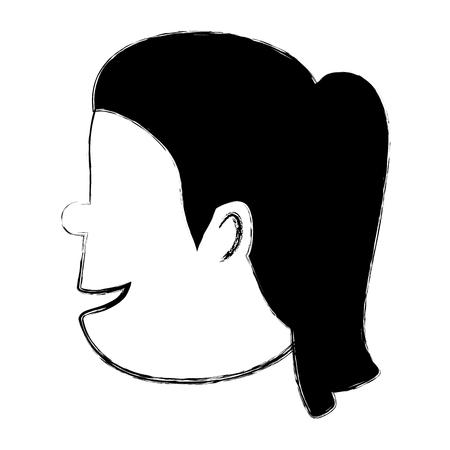 Head woman profile icon vector illustration design.