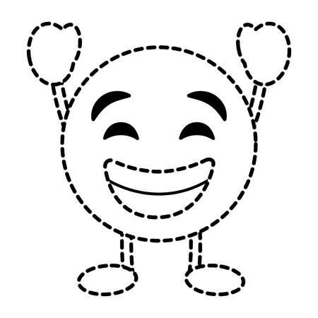 Emoticon cartoon face smiling happy character vector illustration dotted line image.
