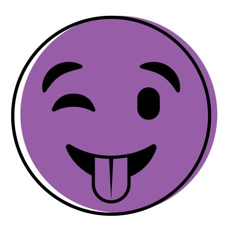 Cute purple smile emoticon tongue out vector illustration.