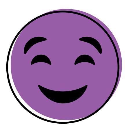 cute purple smile emoticon happy close eyes vector illustration Illusztráció