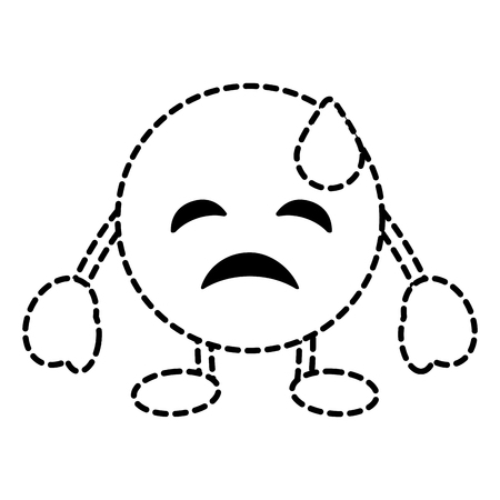 emoticon cartoon face depressive tear character vector illustration dotted line image Illustration