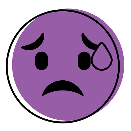 cute purple smile emoticon worried vector illustration