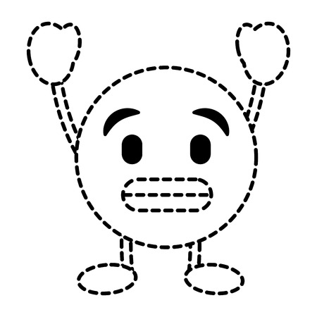 Emoticon cartoon face toothy smile character vector illustration dotted line image.  イラスト・ベクター素材