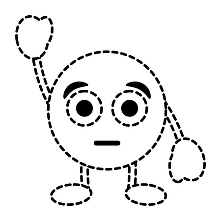 Emoticon cartoon face astonished character vector illustration dotted line image. Illustration