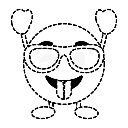 Emoticon cartoon face tongue out sunglasses character vector illustration dotted line image.