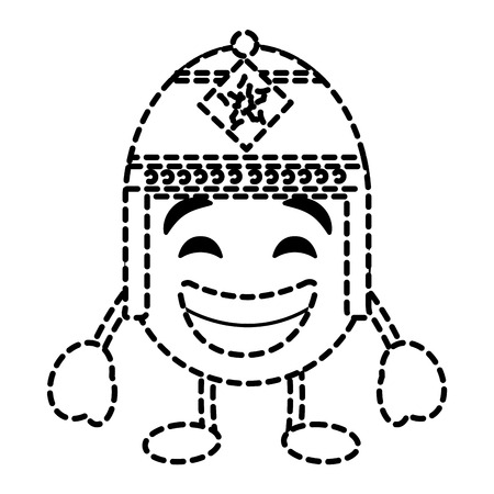 Emoticon cartoon face with exotic hat character vector illustration dotted line image.