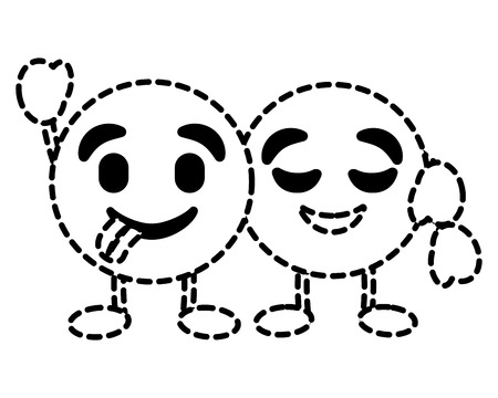 Cute emoticons hugging happy tongue out character vector illustration dotted line image.