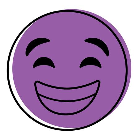 Purple emoticon cartoon face smiling happy vector illustration.