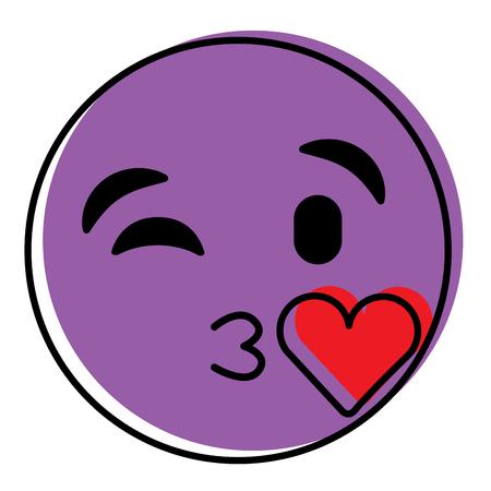 キス愛ベクターイラストを吹く紫色の顔文字漫画の顔  イラスト・ベクター素材
