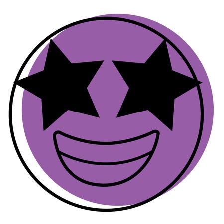 Purple emoticon cartoon face happy star eyes vector illustration. Illustration