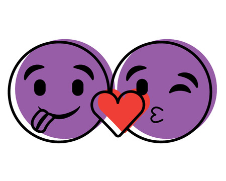 Purple emoticons faces tongue out and kiss vector illustration.