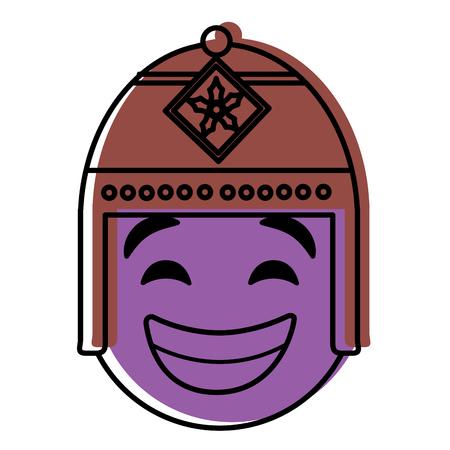 エキゾチックな帽子ベクトルイラストと紫の顔文字漫画の顔。  イラスト・ベクター素材