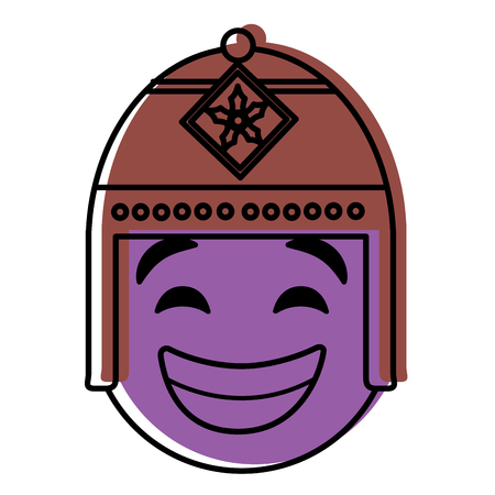 Purple emoticon cartoon face with exotic hat vector illustration. Иллюстрация