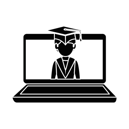 A laptop computer with graduated vector illustration design