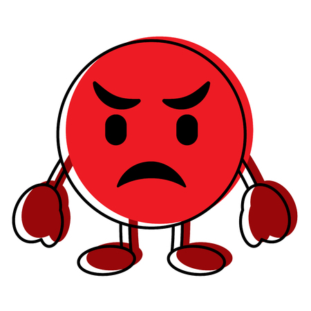 Red emoticon cartoon face angry character vector illustration.