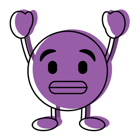 Purple emoticon cartoon face. Toothy smile character vector illustration.