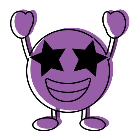 Purple emoticon cartoon face happy star eyes character vector illustration.