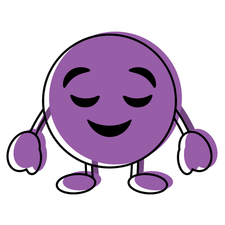 Purple emoticon cartoon face grinning closed eyes character vector illustration. Archivio Fotografico - 96326506