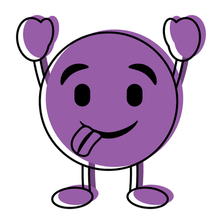 purple emoticon cartoon face tongue out character vector illustration