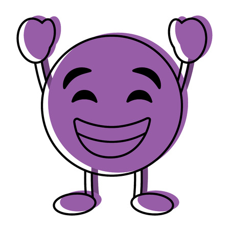 Purple emoticon cartoon face smiling happy character vector illustration. Ilustração