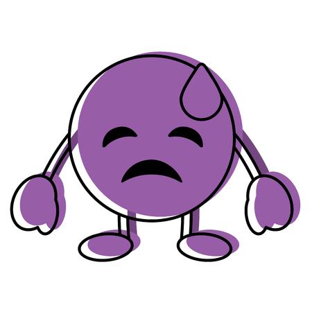 Purple emoticon cartoon face depressive tear character vector illustration. 向量圖像