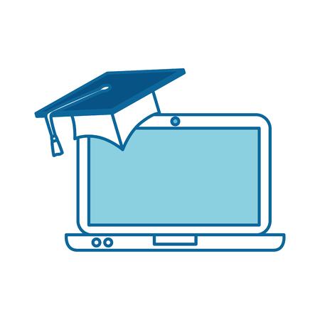 Ordinateur portable avec chapeau graduation vector illustration design Banque d'images - 96525807