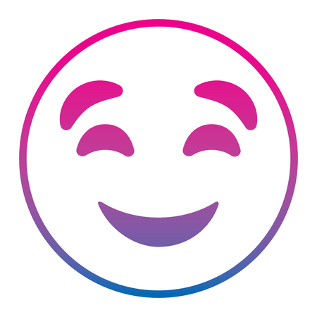 Cute smile emoticon happy close eyes expression vector illustration degrade color line image.