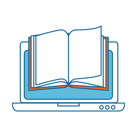 A laptop computer with textbook vector illustration design