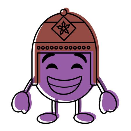 Lila Emoticon Cartoon Gesicht mit exotischen Hut Charakter Vektor-Illustration Standard-Bild - 96326514