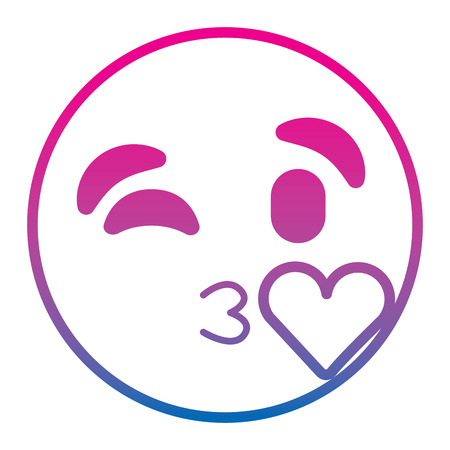 emoticon cartoon face blowing a kiss love expression vector illustration degrade color line image Illustration