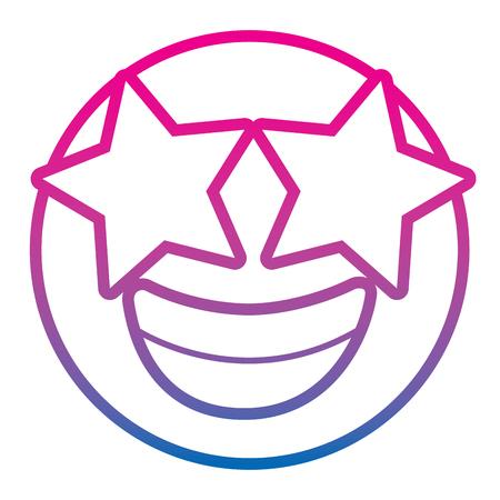 emoticon cartoon face happy star eyes expression vector illustration degrade color line image Vettoriali