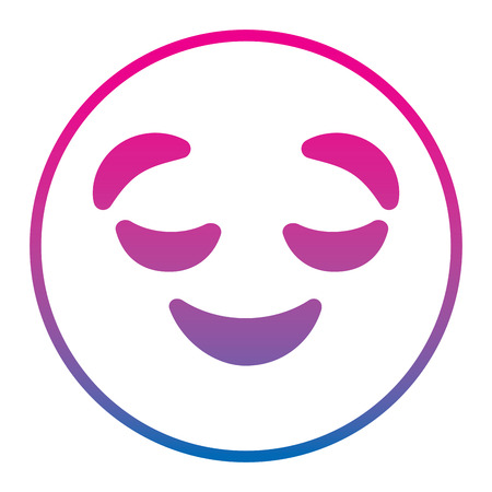 Emoticon cartoon face grinning closed eyes vector illustration degrade color line image. Ilustração
