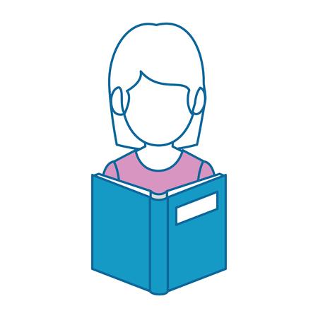 Teacher woman with textbook avatar vector illustration design.